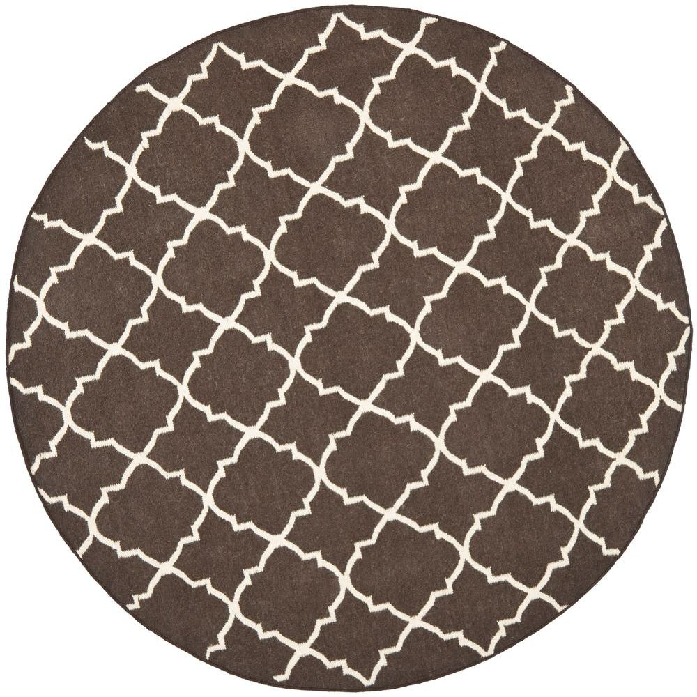 Dhurries Brown/Ivory 6 ft. x 6 ft. Round Area Rug