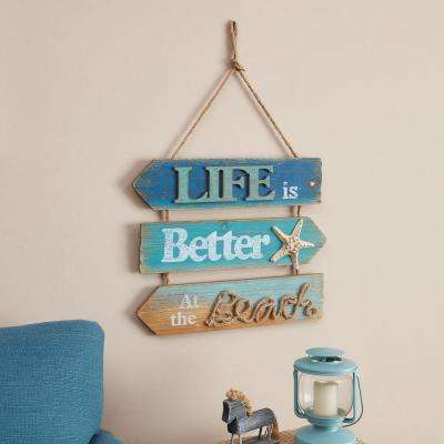 Caribbean Blue Hanging Beach Sign with Quote: Life is Better at the Beach Wood Sign