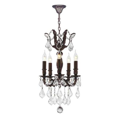 Versailles 5-Light Flemish Brass Chandelier with Clear Crystal