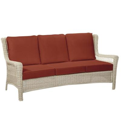Park Meadows Off-White Wicker Outdoor Patio Sofa with Sunbrella Henna Red Cushions
