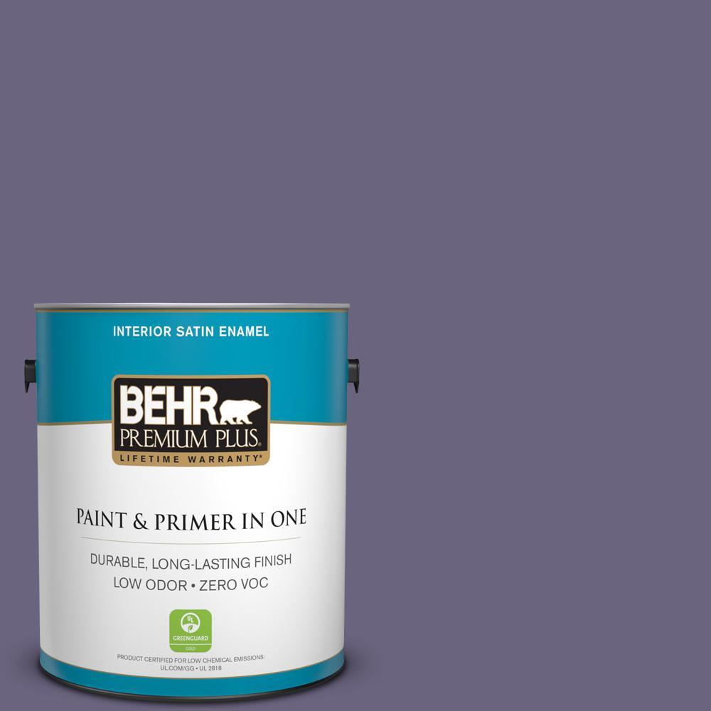 BEHR Premium Plus 1-gal. #650F-6 Victorian Iris Zero VOC Satin Enamel Interior Paint