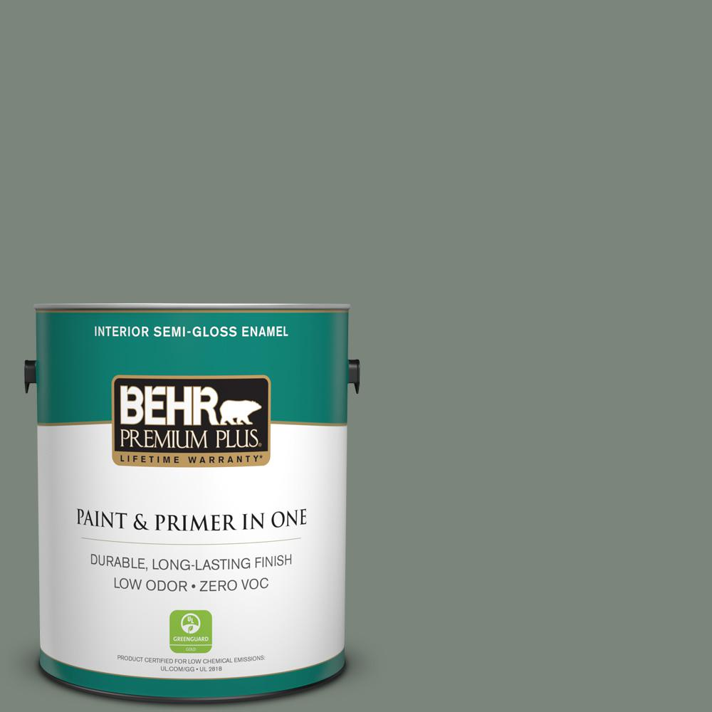 BEHR Premium Plus 1-gal. #N410-5 Village Green Semi-Gloss Enamel Interior Paint