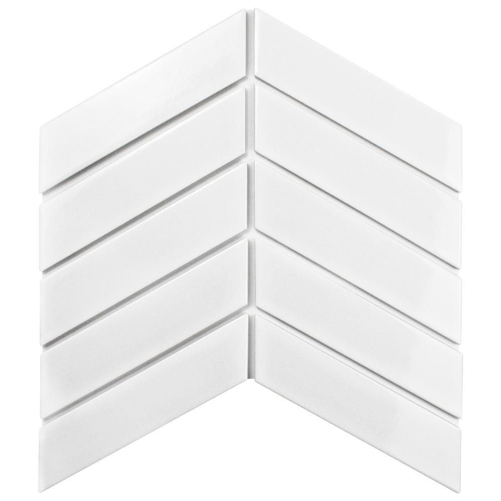 prodigious Chevron Backsplash Home Depot Part - 14: Merola Tile Metro Soho Chevron Glossy White 1-3-4 in. x 7