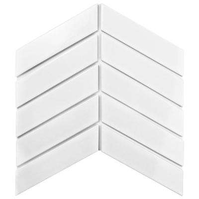 Metro Soho Chevron Glossy White 1-3/4 in. x 7 in. Porcelain Floor and Wall Tile (1 sq. ft. /pack)