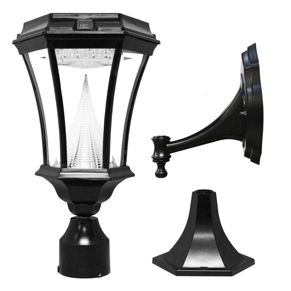 Victorian Single Black Integrated LED Outdoor Solar Lamp with 3-Mounting Options