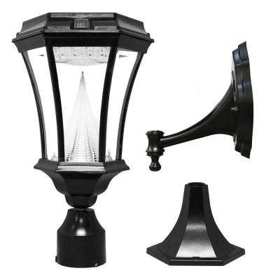 Victorian Single Black Integrated LED Outdoor Solar Lamp with 3-Mounting Options 3 in. Fitter, Pier and Wall Mounts