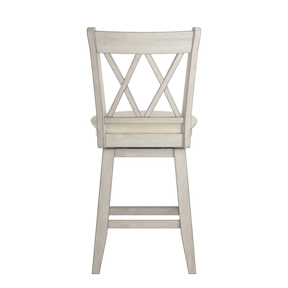 Brilliant 24 In H Antique White Double X Back Swivel Chair With Beige Linen Seat Alphanode Cool Chair Designs And Ideas Alphanodeonline