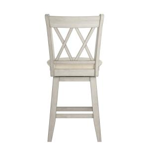 Peachy 24 In H Antique White Double X Back Swivel Chair With Beige Linen Seat Uwap Interior Chair Design Uwaporg
