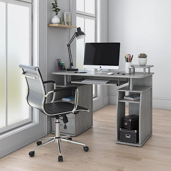 Techni Mobili 48 In Gray Rectangular 2 Drawer Computer Desk With
