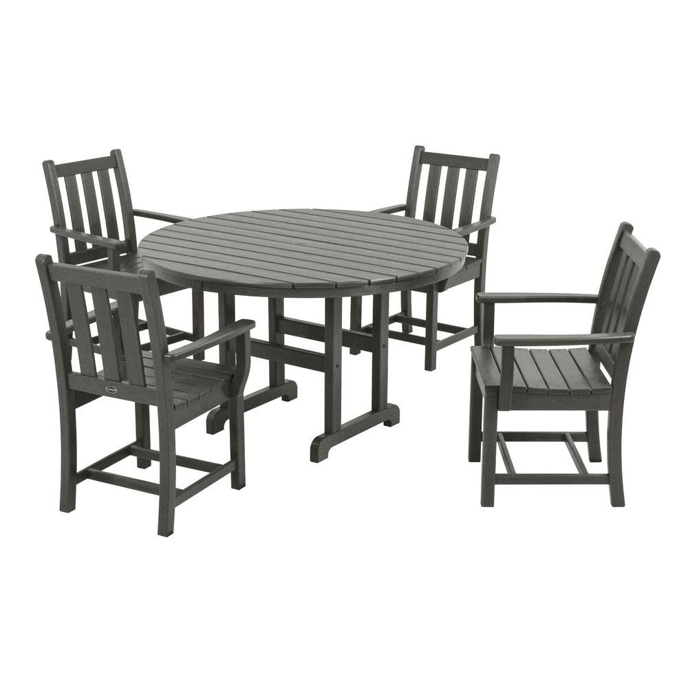 Gentil POLYWOOD Traditional Garden Slate Grey 5 Piece Plastic Outdoor Patio Dining  Set