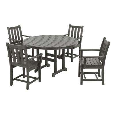 Traditional Garden Slate Grey 5-Piece Plastic Outdoor Patio Dining Set