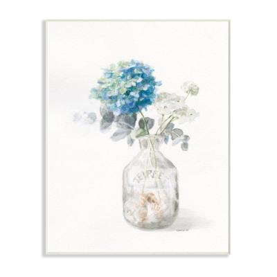 "10 in. x 15 in. ""Flower Jar Beach Still Life Blue Painting"" by Danhui Nai Wood Wall Art"