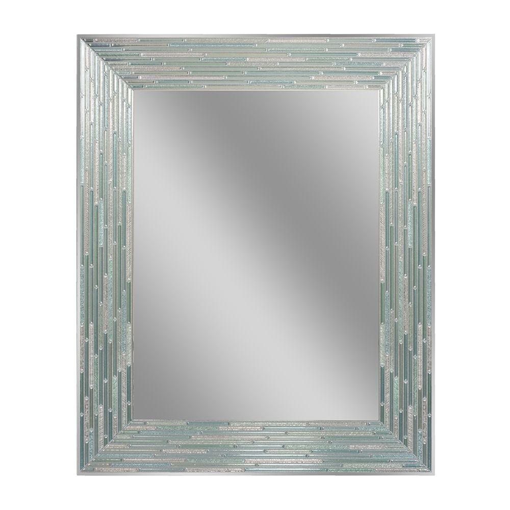 Deco Mirror 30 In L X 24 In W Reeded Sea Glass Wall