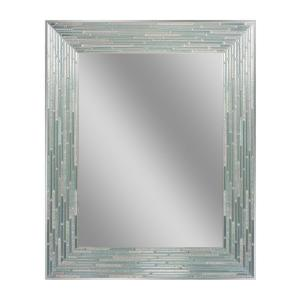 Deco Mirror 30 inch L x 24 inch W Reeded Sea Glass Wall Mirror by Deco Mirror