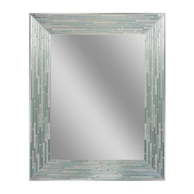 30 in. L x 24 in. W Reeded Sea Glass Wall Mirror