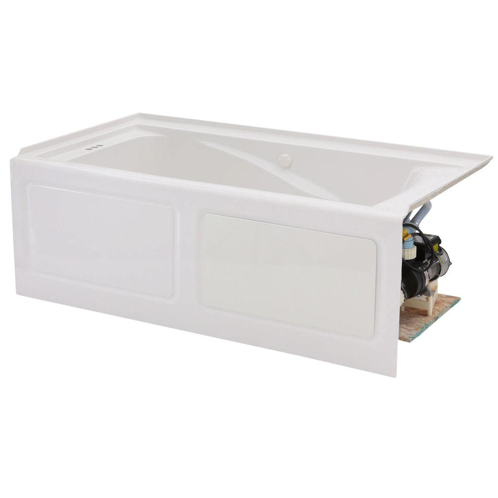 EverClean 60 in. Acrylic Left Drain Rectangular Alcove Whirlpool Bathtub in
