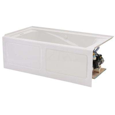 EverClean 60 in. Acrylic Left Drain Rectangular Alcove Whirlpool Bathtub in White