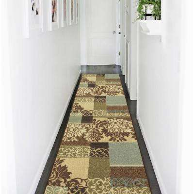 Ottohome Collection Contemporary Damask Design Multicolor 2 ft. x 7 ft. Runner Rug