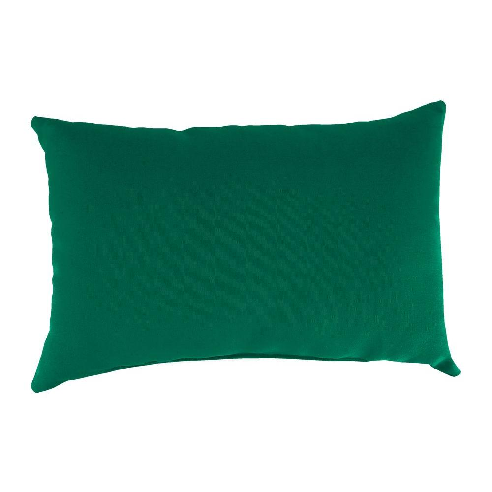 Jordan Manufacturing Sunbrella 19 in. x 12 in. Canvas Forest Green Outdoor Throw Pillow
