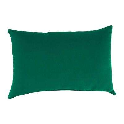 Sunbrella 19 in. x 12 in. Canvas Forest Green Lumbar Outdoor Throw Pillow