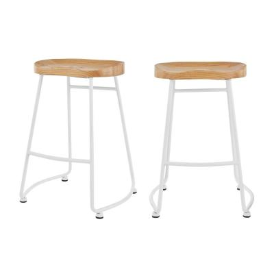 StyleWell White Metal Backless Counter Stool with Wood Seat (Set of 2) (18.5 in. W x 24 in. H)
