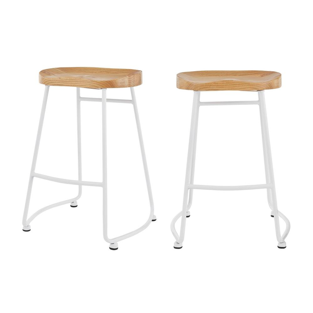 Stylewell StyleWell White Metal Backless Counter Stool with Wood Seat (Set of 2) (18.5 in. W x 24 in. H), White/Natural