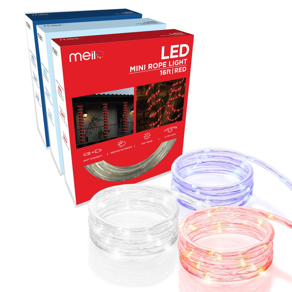 Meilo 16 ft integrated led mini rope light bundle redwhite integrated led mini rope light bundle redwhiteblue aloadofball Gallery