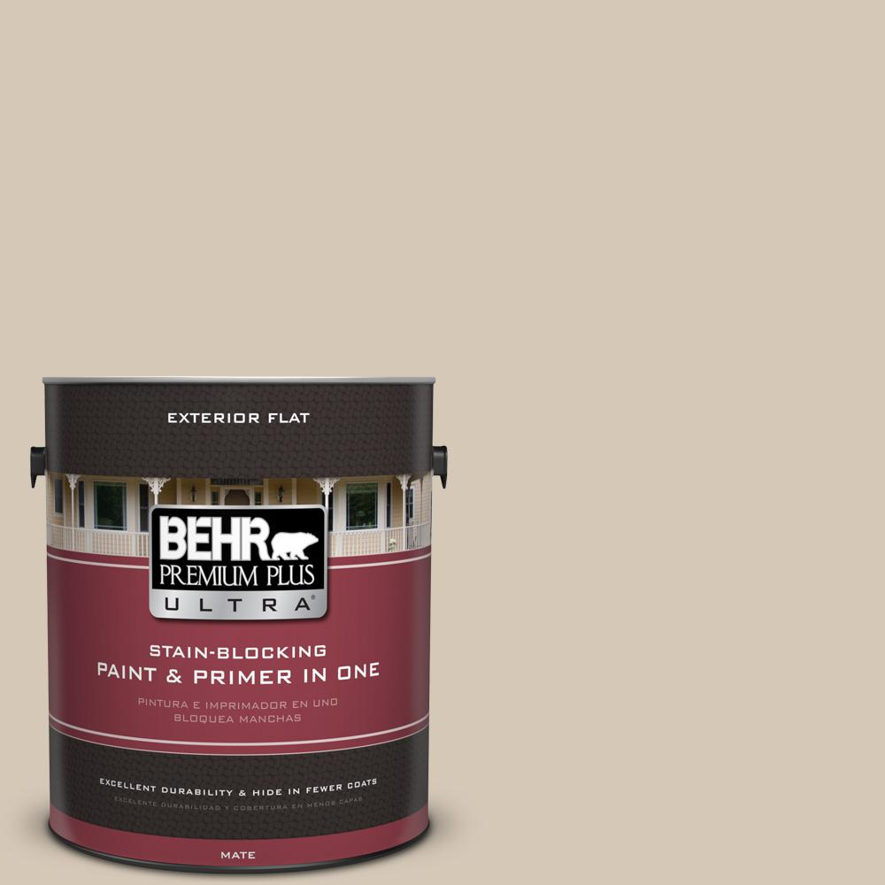 1 gal. #MQ3-10 French Beige Flat Exterior Paint and Primer in