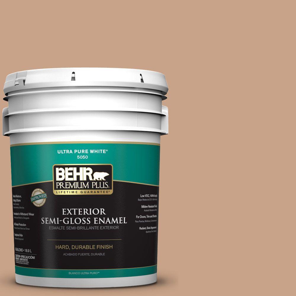 BEHR Premium Plus 5-gal. #S230-4 Granola Semi-Gloss Enamel Exterior Paint
