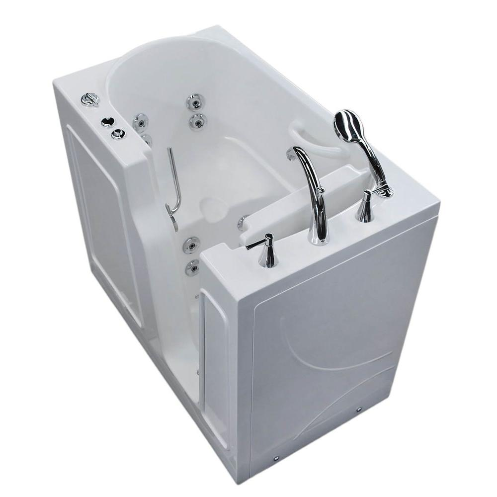 Universal Tubs 3.9 ft. Right Drain Walk-In Whirlpool Bath Tub in White