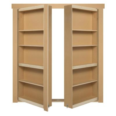 48 in. x 80 in. Flush Mount Assembled Paint Grade Unfinished Out-Swing Solid Core Interior French Bookcase Door