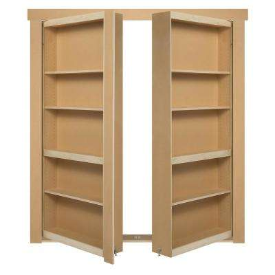 60 in. x 80 in. Flush Mount Assembled Paint Grade Unfinished Out-Swing Solid Core Interior French Bookcase Door