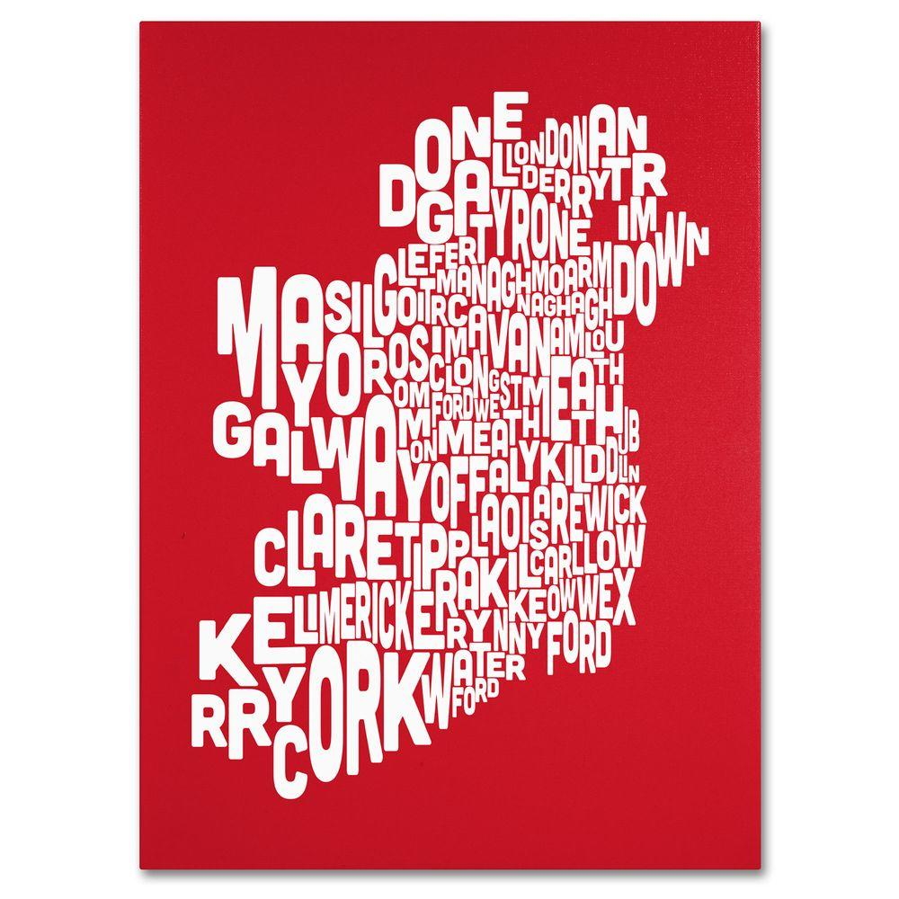 null 14 in. x 19 in. Ireland Text Map - Red Canvas Art