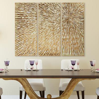 "48 in. x 20 in. ""Sunshine"" Textured Metallic Hand Painted by Martin Edwards Wall Art (Set of 3)"