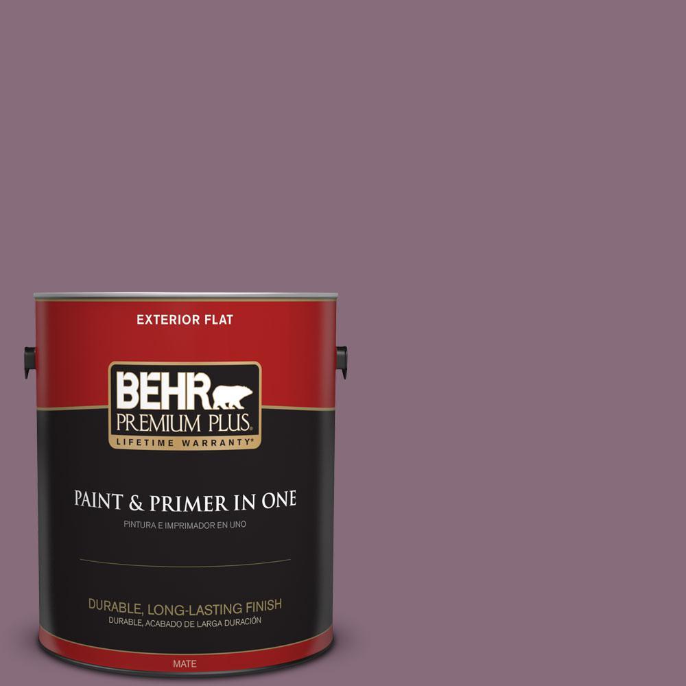 BEHR Premium Plus 1-gal. #S110-6 Plum Royale Flat Exterior Paint