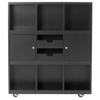 Avery 6-Cube MDF Mobile Cart in Black