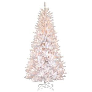 dunhill white iridescent artificial christmas slim fir tree with clear lights - 75 White Christmas Tree