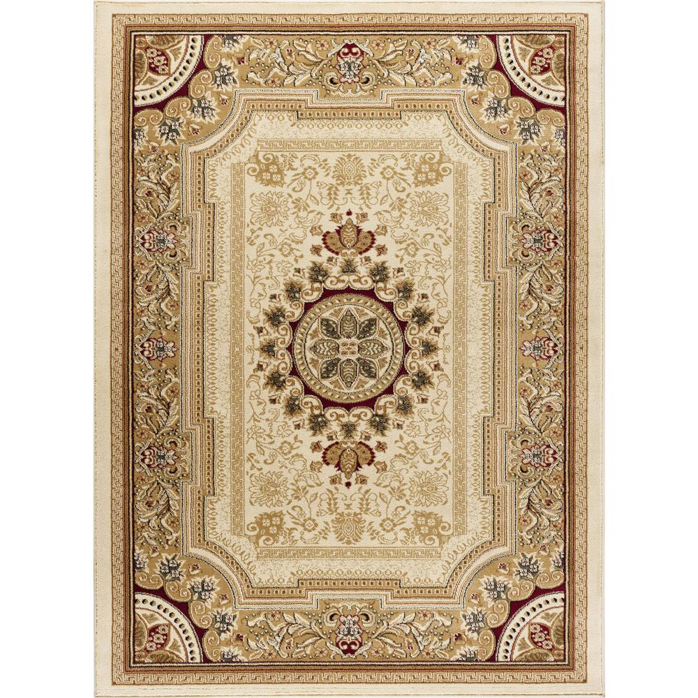 tayse rugs sensation ivory 9 ft x 12 ft traditional area rug sns4672 9x12 the home depot. Black Bedroom Furniture Sets. Home Design Ideas