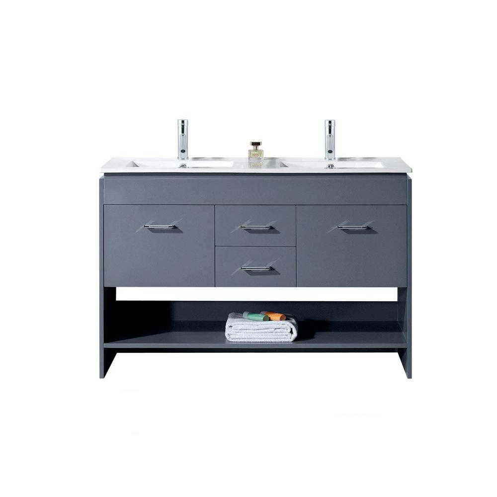 Virtu USA Gloria 48 in. W Bath Vanity in Gray with Ceramic Vanity Top in Slim White Ceramic with Square Basin