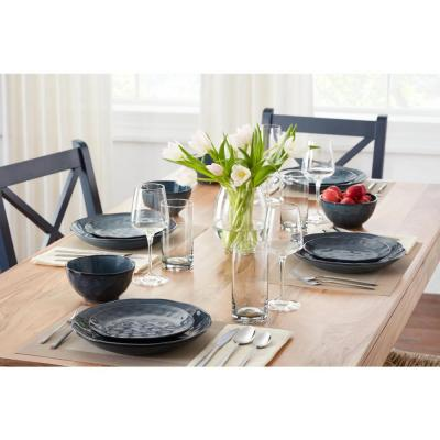 Taite 32-Piece Reactive Glaze Midnight Blue Stoneware Dinnerware Set (Service for 8)