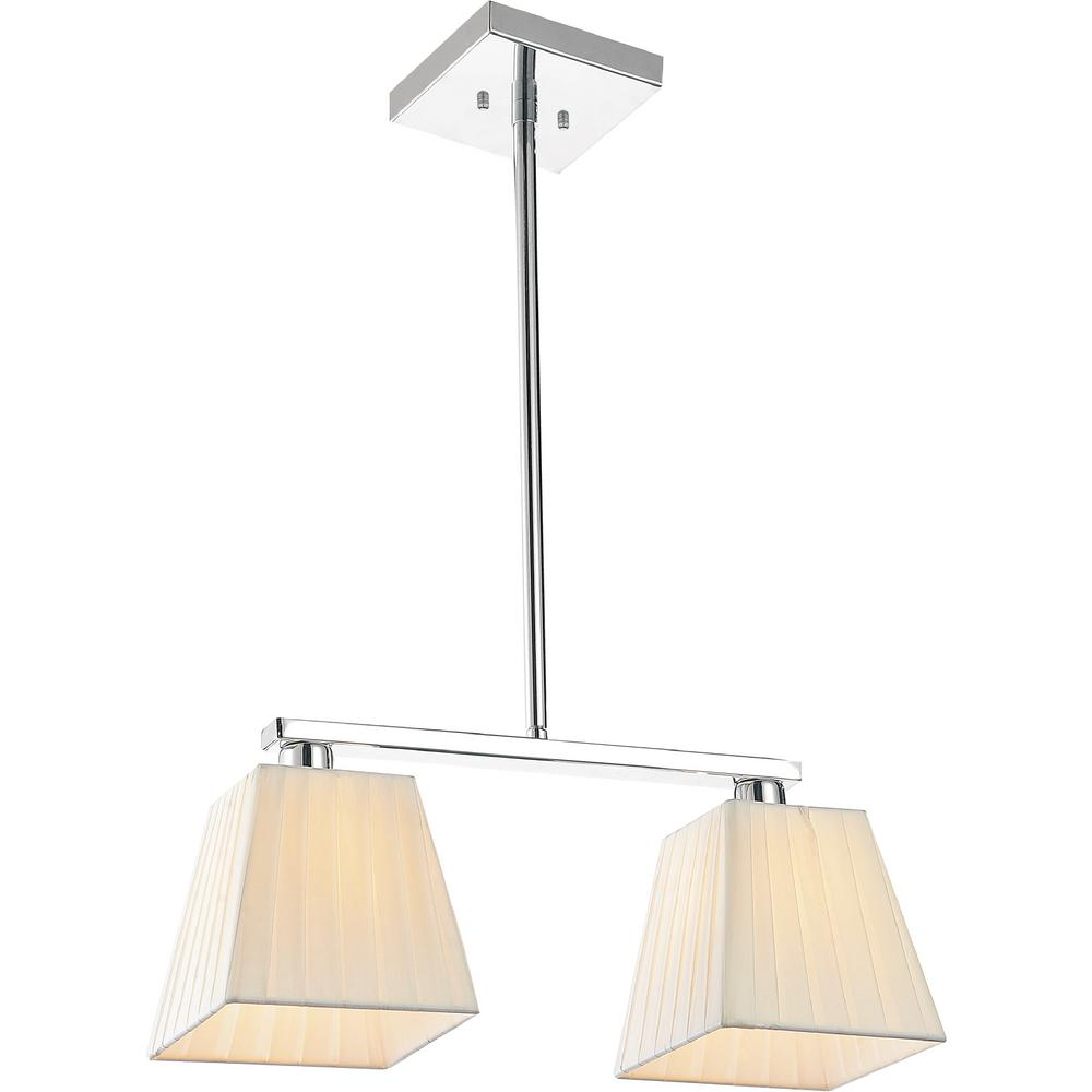 Cwi Lighting Tilly 2 Light Chrome Chandelier With Beige Shade