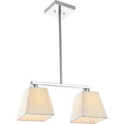 Tilly 2-Light Chrome Chandelier with Beige shade