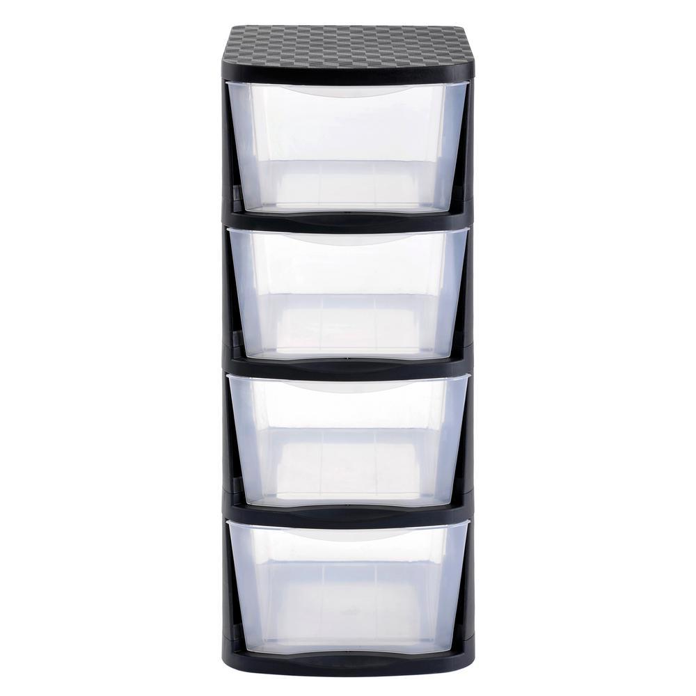 muscle rack 4 drawer clear plastic storage tower with black frame pdt4 the home depot. Black Bedroom Furniture Sets. Home Design Ideas