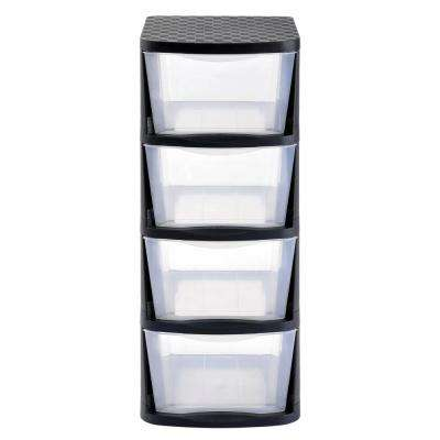 4 Drawer Clear Plastic Storage Tower with Black Frame