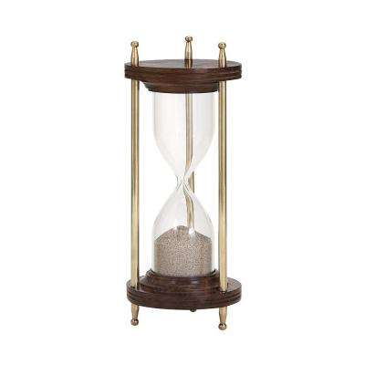 Pratt 8.5 in. x 3.5 in. Glass Metal Hourglass in Bronze
