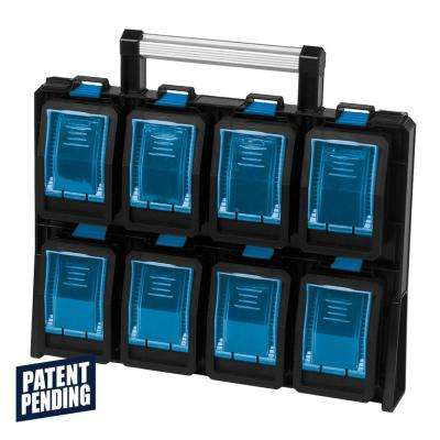 8-Compartment Wall Mount Quick Release Small Parts Organizer, Blue