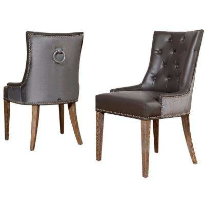 Uptown Grey Leather/Velvet Dining Chair (Set of 2)