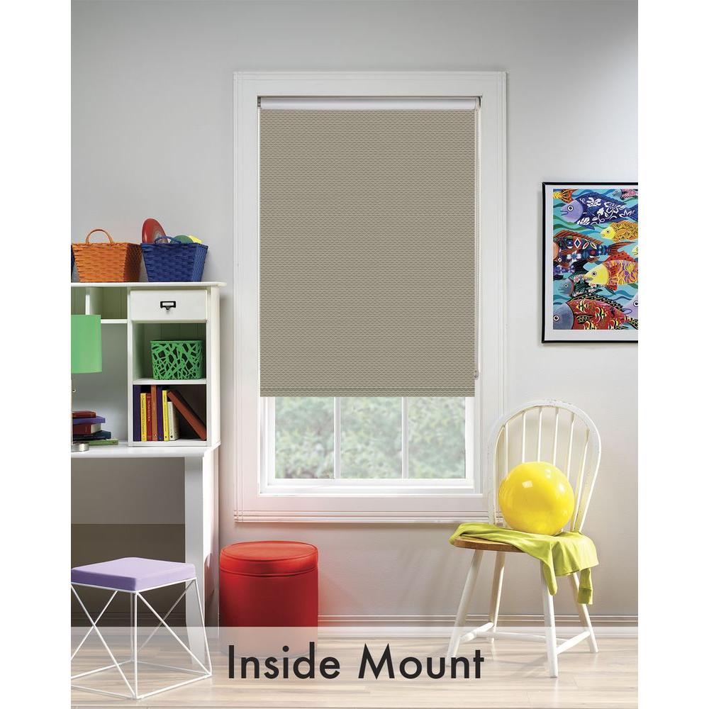 Bali Cut-to-Size Woven Taupe Cordless Decorative Room Darkening Vinyl Roller Shade - 56.25 in. W x 72 in. L