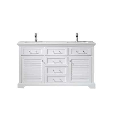 Lorna 60 in. Bath Vanity in Green with Manufactured Stone Vanity Top in White with White Basins