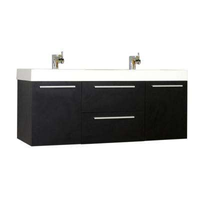 Ripley 54.25 in. W x 18.75 in. D x 23.25 in. H Vanity in Black with Acrylic Vanity Top in White with White Basin